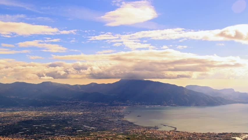 Pompei Valley, view from Mount Vesuvius Italy.