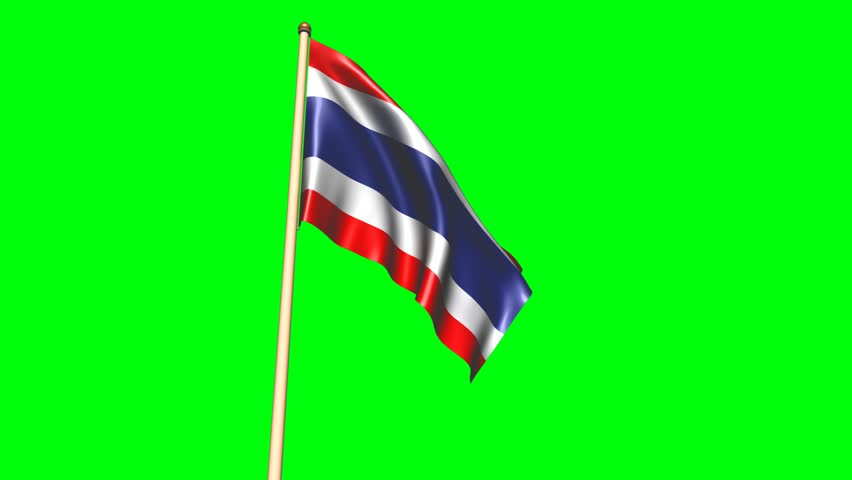 3D animation Thailand flag with green screen
