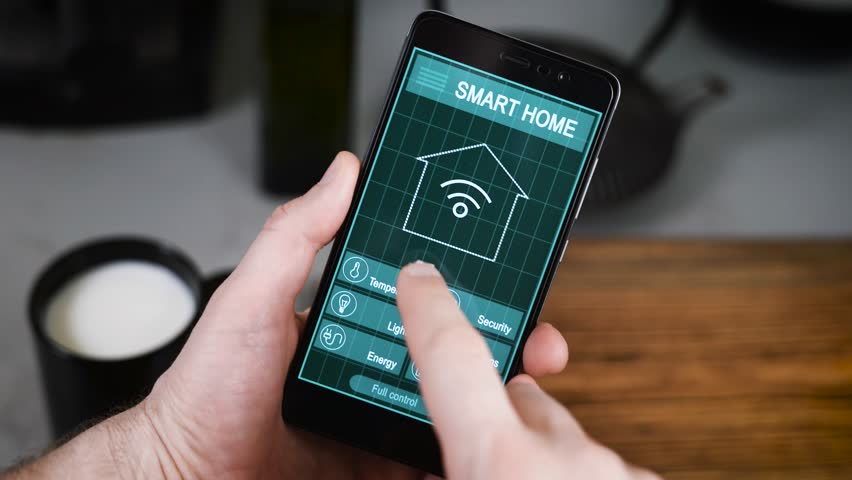 Smartphone Home Control smart house. remote home control system on a digital tablet or