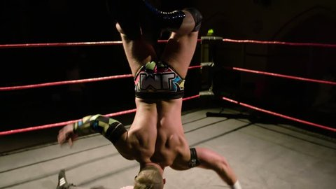 Acrobatic Backflip Wrestling Move in Ring (Slow Motion), Lucha Libre (Mexican Style) Pro Wrestling Move