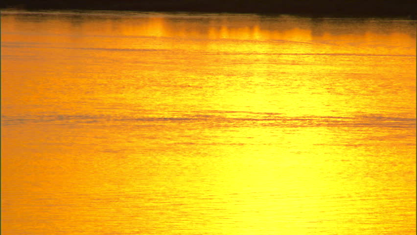 Beautiful sunset illuminating the lake with hues of gold as boat passes by with waterskier.