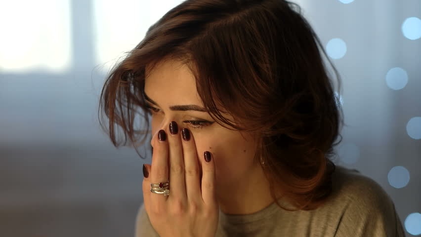 Sad Depressed Beautiful Young Woman Crying In Bedroom At Home | Shutterstock HD Video #25217465