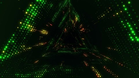 Animation of flying into digital technologic tunnel from glowing and flickering particles. Animation of seamless loop.