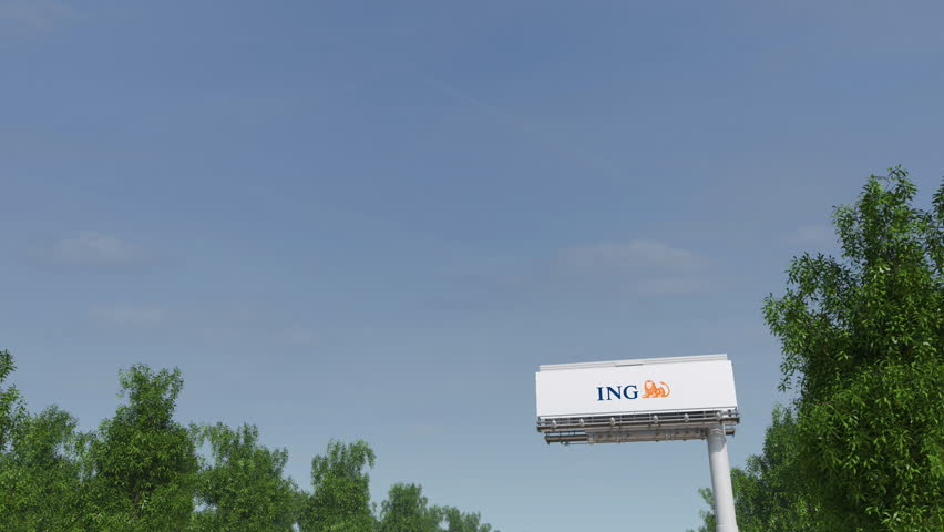 Driving towards advertising billboard with ING Group logo. Editorial 3D rendering 4K clip