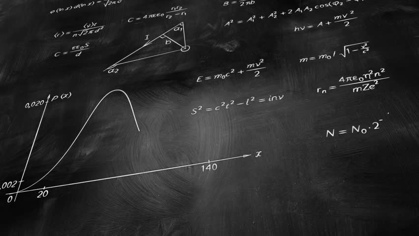 math physics formulas on chalkboard tilting, computer generated loopable motion background. HD 1080 progressive