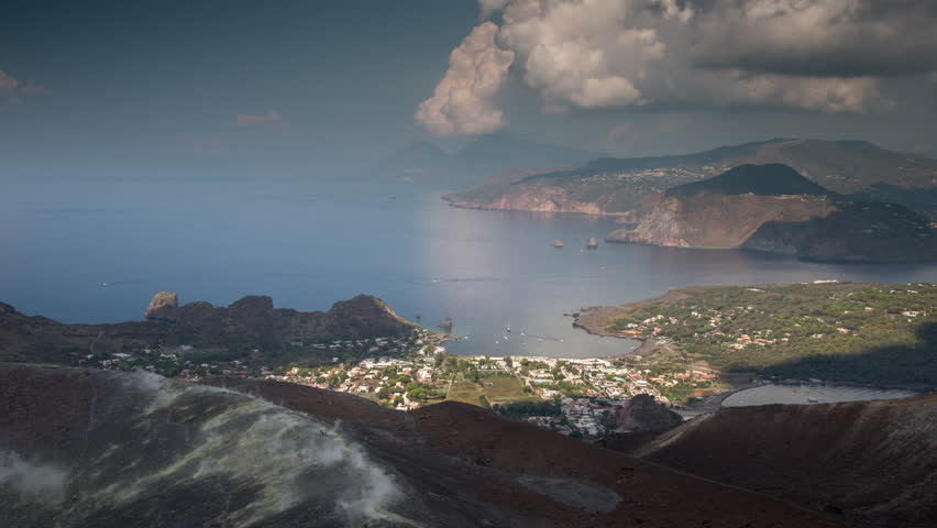 The incredible vulcano island off the coast of Sicily, Italy. vulcano has constant sulphurous fumes coming up through its vents in the crator