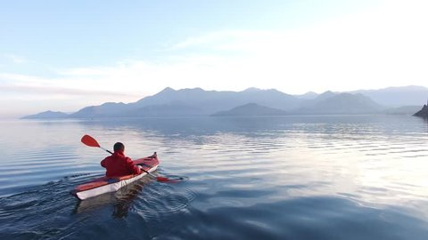 Kayak on Lake Skadar in Montenegro. Tourist kayaking. Aerial Photo drone.