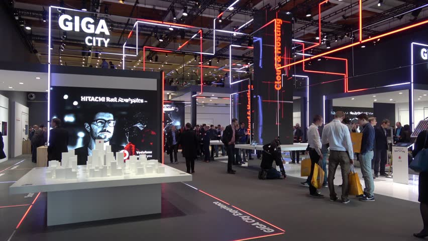 Hannover, Germany - March, 2017: Experience the city of the future in the Giga City with Vodafone company on exhibition Cebit 2017 in Hannover Messe, Germany