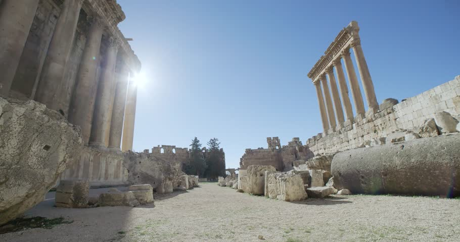 Pan left from Jupiter Temple to Bacchus Temple, Baalbek, Lebanon. Baalbek Roman ruins, an UNESCO world heritage, contains some of the best preserved Roman ruins in Lebanon