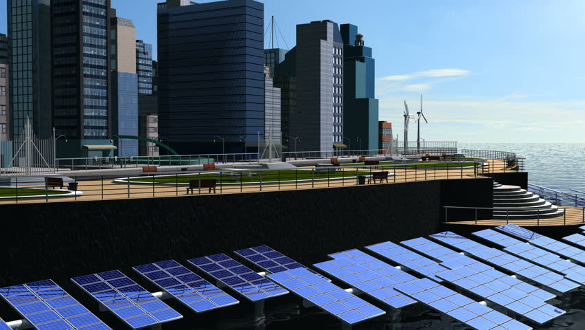 Digital motion graphic of sustainable energy to power cities worldwide