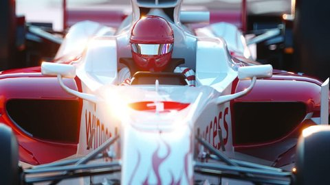 Racer in a racing car. Race and motivation concept. Wonderfull sunset. Realistic 4k animation.