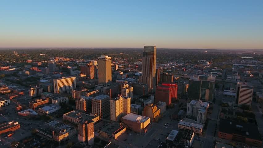 Aerial Nebraska Omaha September 2016 4K