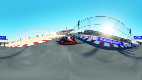 360 degrees, spherical video. Race car. Formula 1. Very fast driving. Realistic 4K animation.