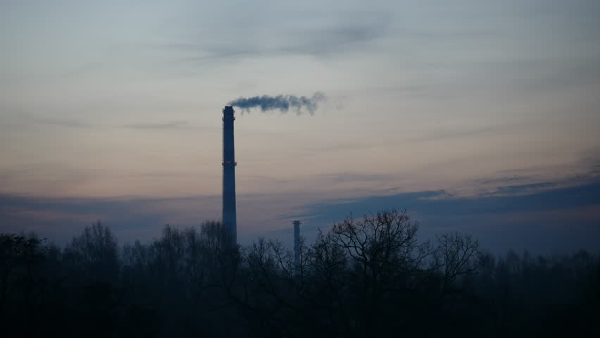 Sunrise Time Lapse Sky and moving clouds Power Plant pipe with smoke Latvia 4K | Shutterstock HD Video #25452338