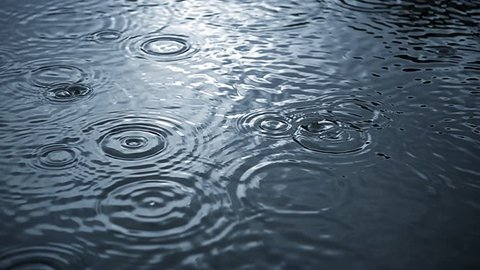 Rippled rain drops in super slow motion