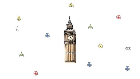 Hand drawn doodle United Kingdom set animation UK icon  Welcome to London elements British symbols collection: Tea time Bus Polo Horse riding Crown London bridge Big Ben Tower Map Flag Telephone booth