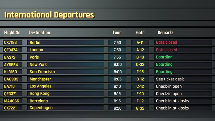 Flight information displayed on airport departure board, status changing. Airport timetable and information display