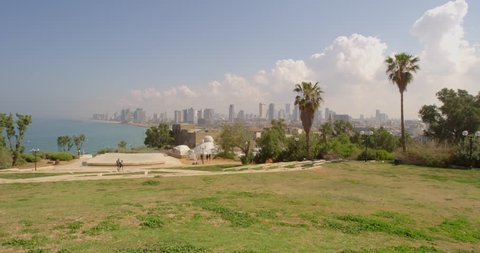 Panoramic landscape view of Tel Aviv from the old city of Jaffa Yafo city promenade.