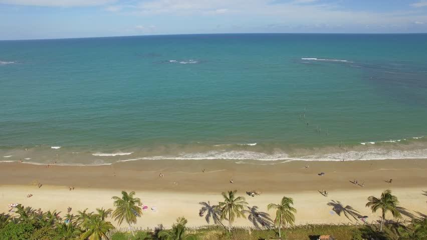 Aerial view of Coqueiros beach in Trancoso filmed by drone Trancoso, Bahia, Brazil