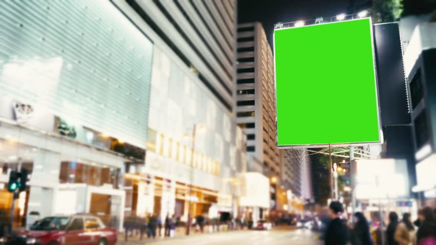A Billboard with a Green Screen on a Evening Streets  .Time Lapse | Shutterstock HD Video #25551578
