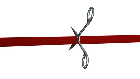 Red tape/ribbon is cut by a pair of chrome scissors, 4k version, comes with the Alpha Matte.