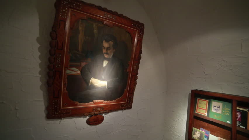 BSHARRI, LEBANON - CIRCA 2016: Steadycam through the Khalil Gibran Museum: portrait of the poet/artist, personal objects, galleries of paintings ending on a painting entitled 'Birth of a Tragedy'.