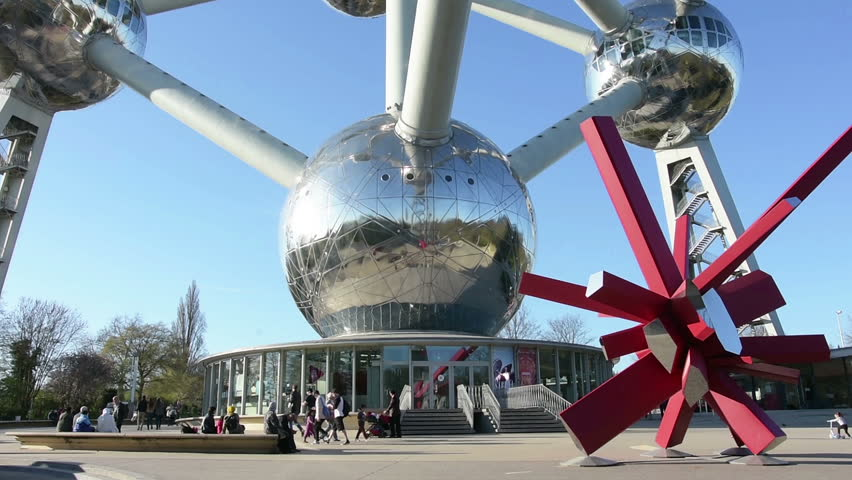 Brussels, Belgium. March 2017. A detail of the Atomium structure