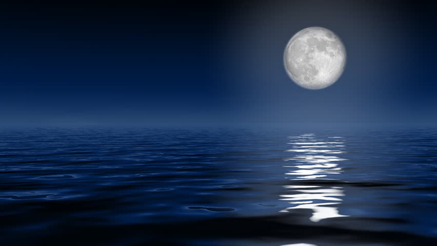 Big full moon over ocean | Shutterstock HD Video #2570852