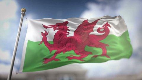 Wales Flag Waving Slow Motion 3D Rendering Blue Sky Background - Seamless Loop 4K