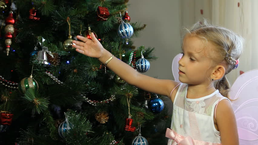 Child Touching With Her Magic Wand The Christmas Tree Little Girl
