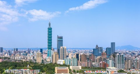 4K timelapse of financial district in city of Taipei, Taiwan