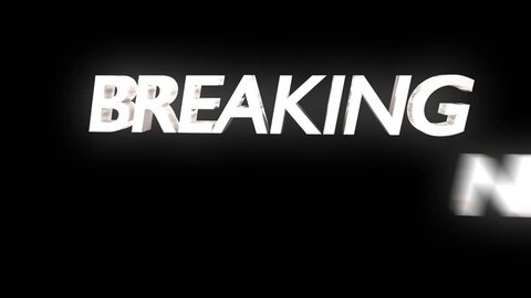 Breaking news overlay dynamic text lens flare chyron sting transition loop 4k