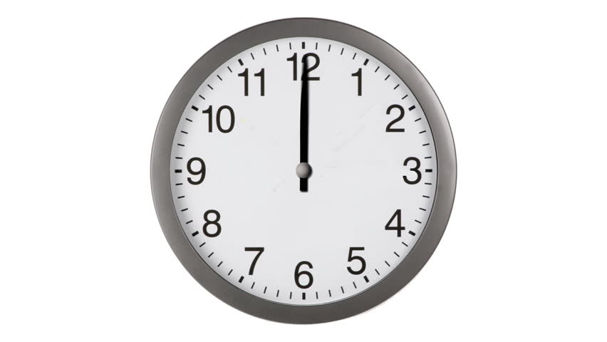 Animated clock counting down 12 hours over 30 seconds. Seamlessly loops. Time lapse.
