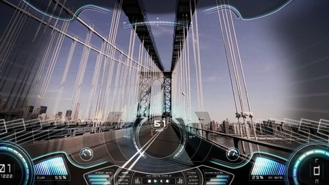 Motion graphics game displaying pov animation virtual reality car driving and GPS technology satellite over New York City bridge