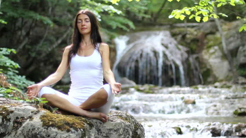 Girl, meditation, waterfall