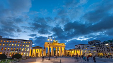 view of famous Brandenburger Tor (Brandenburg Gate), one of the best-known landmarks and national symbols of Germany, in twilight during blue hour at dawn, Berlin, Germany
