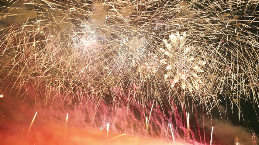 High quality video of new year fireworks in 4K