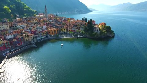Village of Varenna on Como lake in Italy - Aerial view