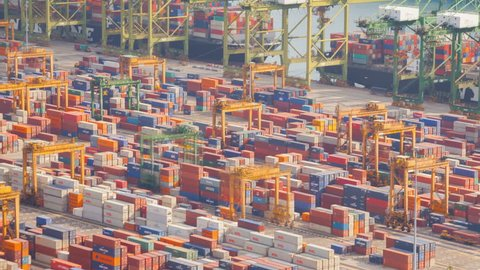 Singapore - February 24, 2017 : Crane Activity in traiding port - February 24, 2017, Singapore