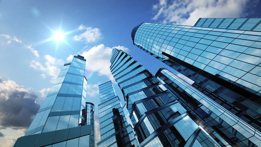 Business Background Skyscrapers And Running Stock Footage