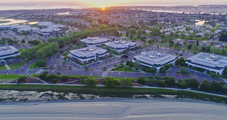 Aerial flyover View Of buildings in Silicon Valley, San Francisco
