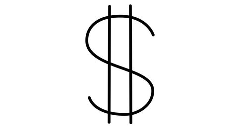 The dollar sign is drawn. The financial situation in the world. On a white background