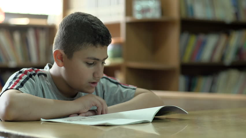 BEIRUT, LEBANON - 2016: A student in 6th grade reads a book at the school's library.
