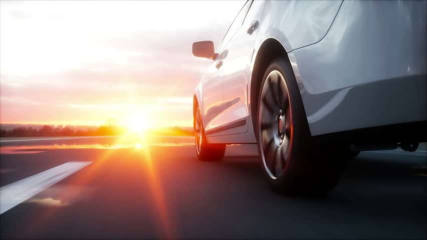 Luxury white car on highway, road. Very fast driving. Wonderfull sunset. Travel and motivation concept. Realistic 4k animation | Shutterstock HD Video #25952276