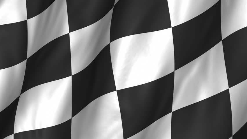 A beautiful satin finish looping animation of a checkered Flag.  A fully digital rendering using the official flag design in a waving, full frame composition.  The animation loops at 10 seconds.