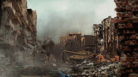 Syrian tank fired between dammge buildings. View of syria street and syrian tank. Fire and smoke.