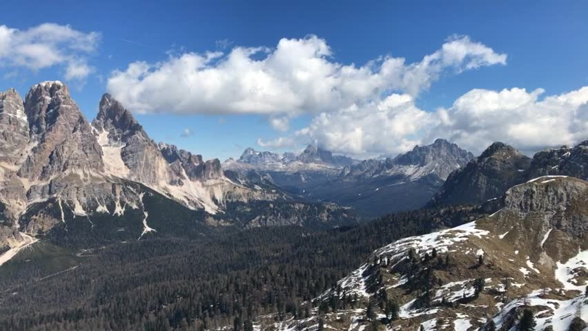 A motion time lapse of Dolomites view Monte Cristallo, Cortina d'Ampezzo, Italy