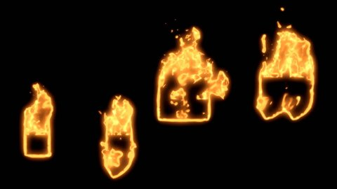 Flaming Alphabet. A period or full stop, a comma and quotation marks bursting into flames. Part of a series an alphabet, numbers and other characters.