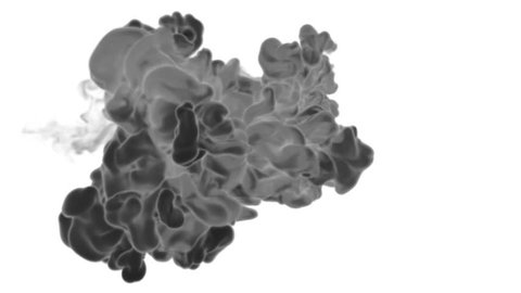 3d render black Ink in water or smoke with alpha mask for motion effects and compositing. Beautiful Ink clouds or smoke move in slow motion with luma matte. Version VFX 14