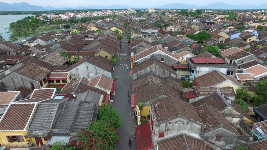 Hoi An, Vietnam - Circa June 2016: Aerial view of Hoi An ancient town, UNESCO world heritage, at Quang Nam province. Vietnam. Hoi An is one of the most popular destinations in Vietnam
